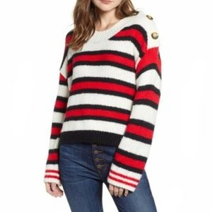 🆕️ BUTTON SHOULDER NAUTICAL STRIPED SWEATER